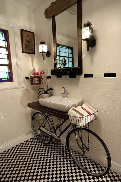 bicycle bathroom retro design